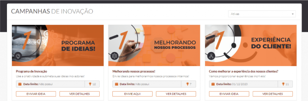 Nesta imagem é possível observar campanhas de intraempreendedorismo dentro do AEVO Innovate.
